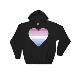 Hooded Sweatshirt - Bigender Big Heart Black / S