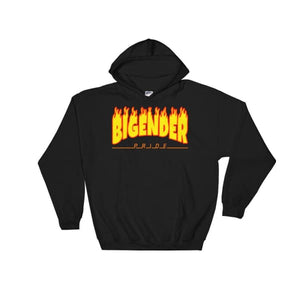 Hooded Sweatshirt - Bigender Flames Black / S