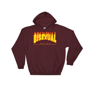 Hooded Sweatshirt - Bisexual Flames Maroon / S