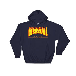 Hooded Sweatshirt - Bisexual Flames Navy / S