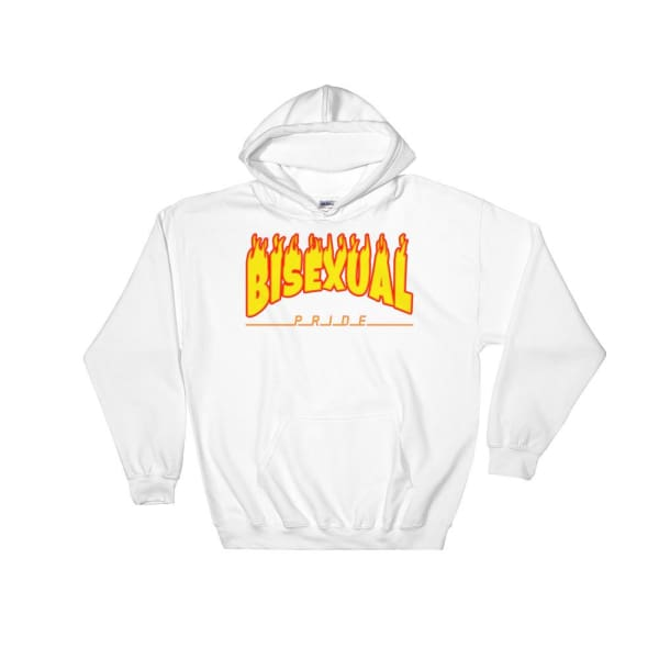 Hooded Sweatshirt - Bisexual Flames White / S