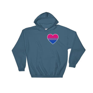 Hooded Sweatshirt - Bisexual Heart Indigo Blue / S