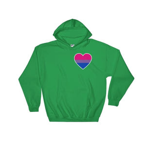 Hooded Sweatshirt - Bisexual Heart Irish Green / S