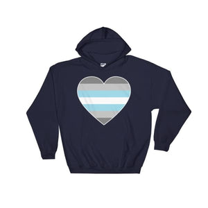 Hooded Sweatshirt - Demiboy Big Heart Navy / S