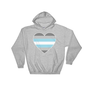 Hooded Sweatshirt - Demiboy Big Heart Sport Grey / S