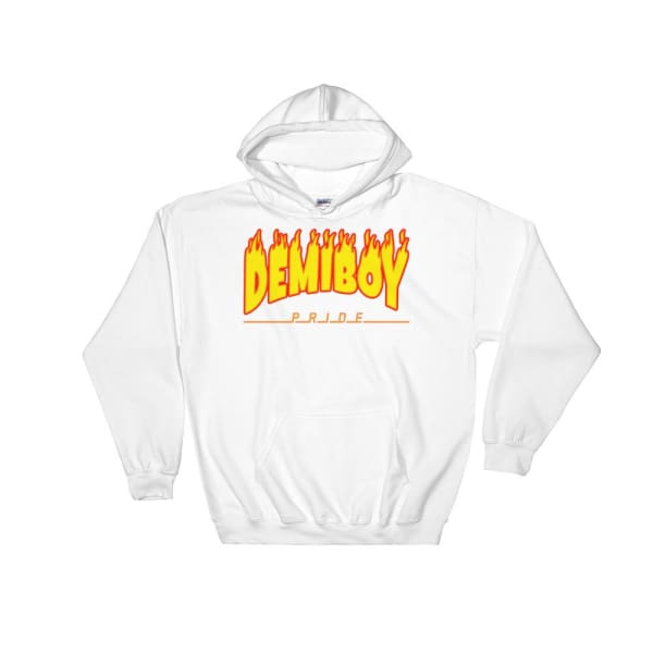 Hooded Sweatshirt - Demiboy Flames White / S