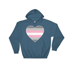 Hooded Sweatshirt - Demigirl Big Heart Indigo Blue / S