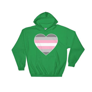 Hooded Sweatshirt - Demigirl Big Heart Irish Green / S