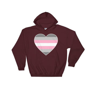 Hooded Sweatshirt - Demigirl Big Heart Maroon / S