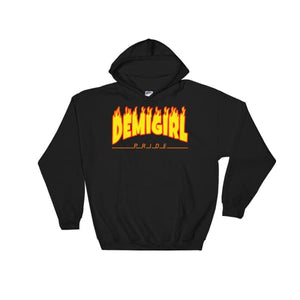 Hooded Sweatshirt - Demigirl Flames Black / S