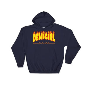 Hooded Sweatshirt - Demigirl Flames Navy / S