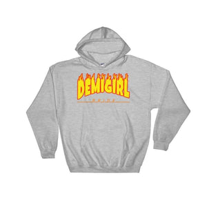Hooded Sweatshirt - Demigirl Flames Sport Grey / S