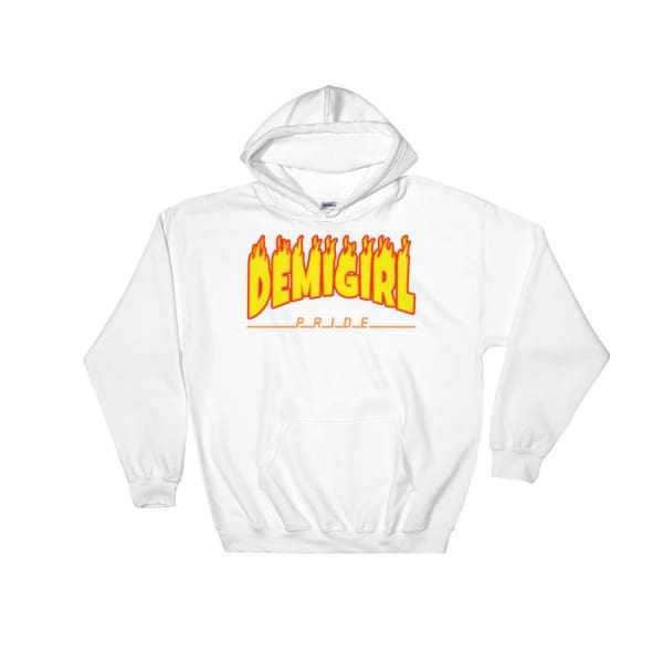 Hooded Sweatshirt - Demigirl Flames White / S
