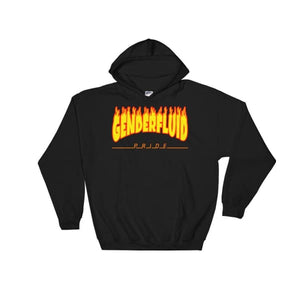 Hooded Sweatshirt - Genderfluid Flames Black / S