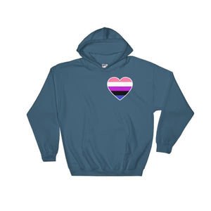 Hooded Sweatshirt - Genderfluid Heart Indigo Blue / S