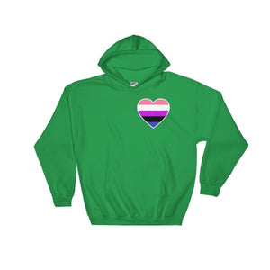 Hooded Sweatshirt - Genderfluid Heart Irish Green / S