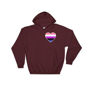 Hooded Sweatshirt - Genderfluid Heart Maroon / S