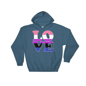 Hooded Sweatshirt - Genderfluid Love Indigo Blue / S
