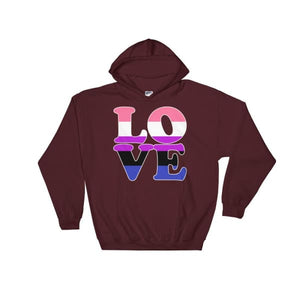 Hooded Sweatshirt - Genderfluid Love Maroon / S