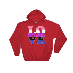 Hooded Sweatshirt - Genderfluid Love Red / S