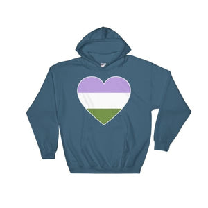 Hooded Sweatshirt - Genderqueer Big Heart Indigo Blue / S