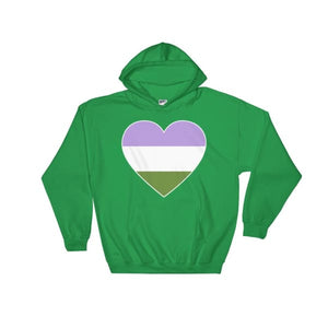 Hooded Sweatshirt - Genderqueer Big Heart Irish Green / S