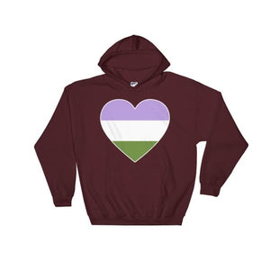 Hooded Sweatshirt - Genderqueer Big Heart Maroon / S