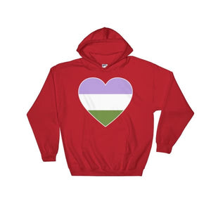 Hooded Sweatshirt - Genderqueer Big Heart Red / S