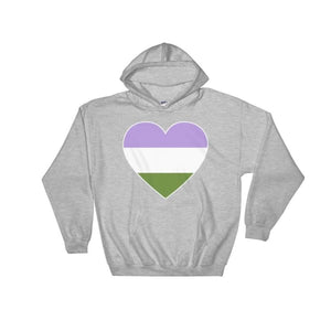 Hooded Sweatshirt - Genderqueer Big Heart Sport Grey / S