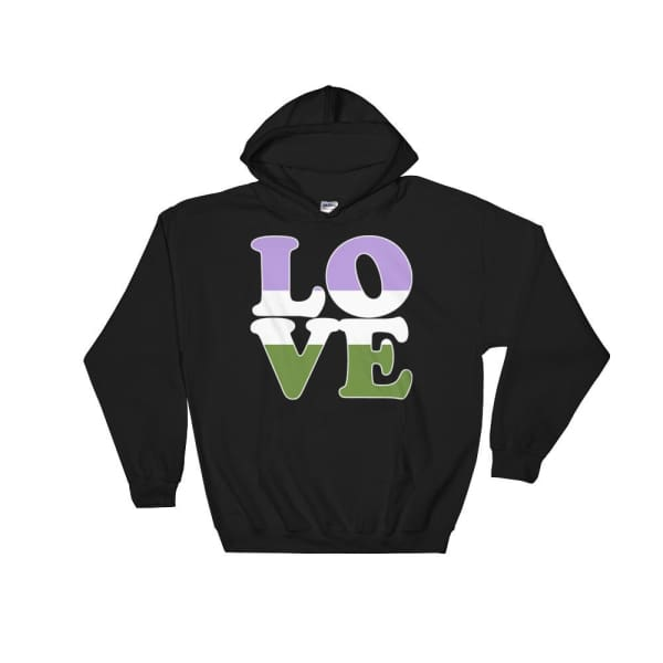 Hooded Sweatshirt - Genderqueer Love Black / S