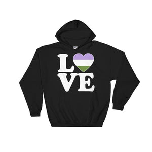 Hooded Sweatshirt - Genderqueer Love & Heart Black / S