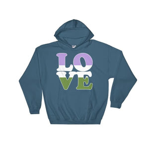 Hooded Sweatshirt - Genderqueer Love Indigo Blue / S