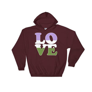 Hooded Sweatshirt - Genderqueer Love Maroon / S