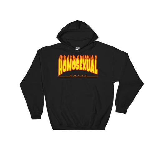 Hooded Sweatshirt - Homosexual Flames Black / S