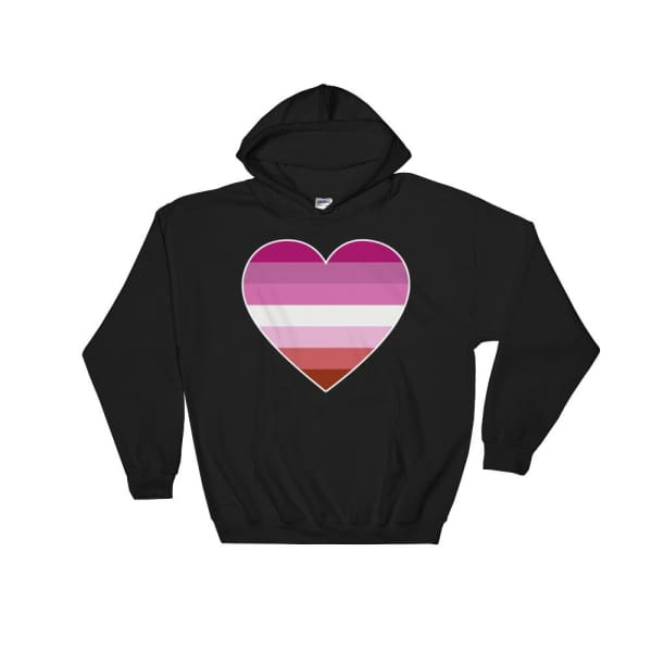Hooded Sweatshirt - Lesbian Big Heart Black / S