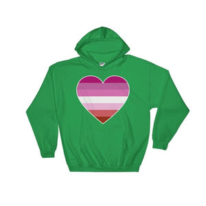 Hooded Sweatshirt - Lesbian Big Heart Irish Green / S