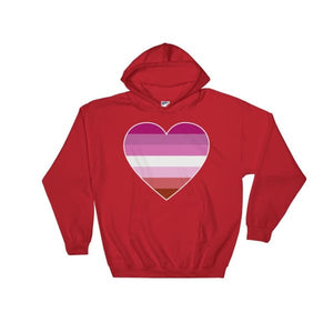 Hooded Sweatshirt - Lesbian Big Heart Red / S