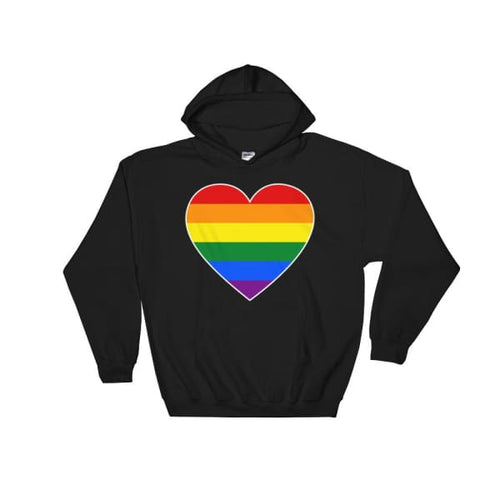 Hooded Sweatshirt - Lgbt Big Heart Black / S