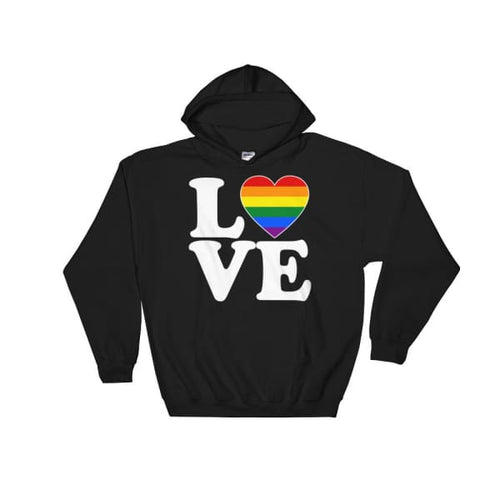 Hooded Sweatshirt - Lgbt Love & Heart Black / S