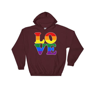 Hooded Sweatshirt - Lgbt Love Maroon / S