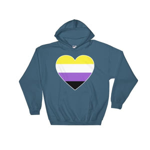 Hooded Sweatshirt - Non Binary Big Heart Indigo Blue / S