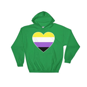 Hooded Sweatshirt - Non Binary Big Heart Irish Green / S