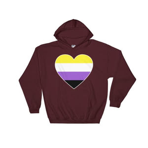 Hooded Sweatshirt - Non Binary Big Heart Maroon / S