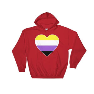 Hooded Sweatshirt - Non Binary Big Heart Red / S