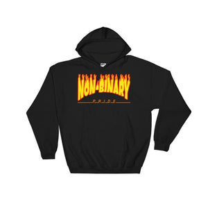 Hooded Sweatshirt - Non-Binary Flames Black / S