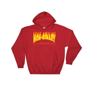 Hooded Sweatshirt - Non-Binary Flames Red / S