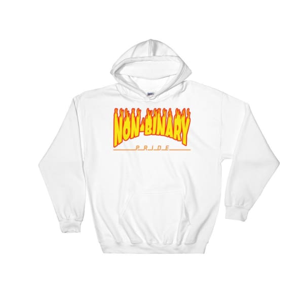 Hooded Sweatshirt - Non-Binary Flames White / S