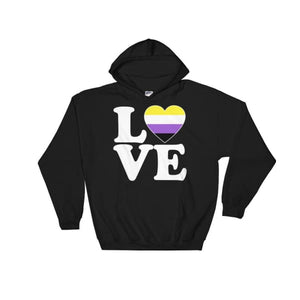 Hooded Sweatshirt - Non Binary Love & Heart Black / S