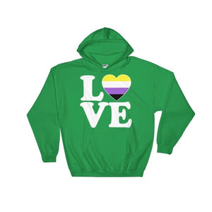 Hooded Sweatshirt - Non Binary Love & Heart Irish Green / S