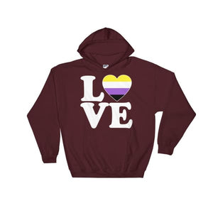 Hooded Sweatshirt - Non Binary Love & Heart Maroon / S